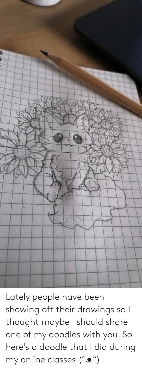 Drawings: Lately people have been showing off their drawings so I thought maybe I should share one of my doodles with you. So here's a doodle that I did during my online classes (ᵔᴥᵔ)