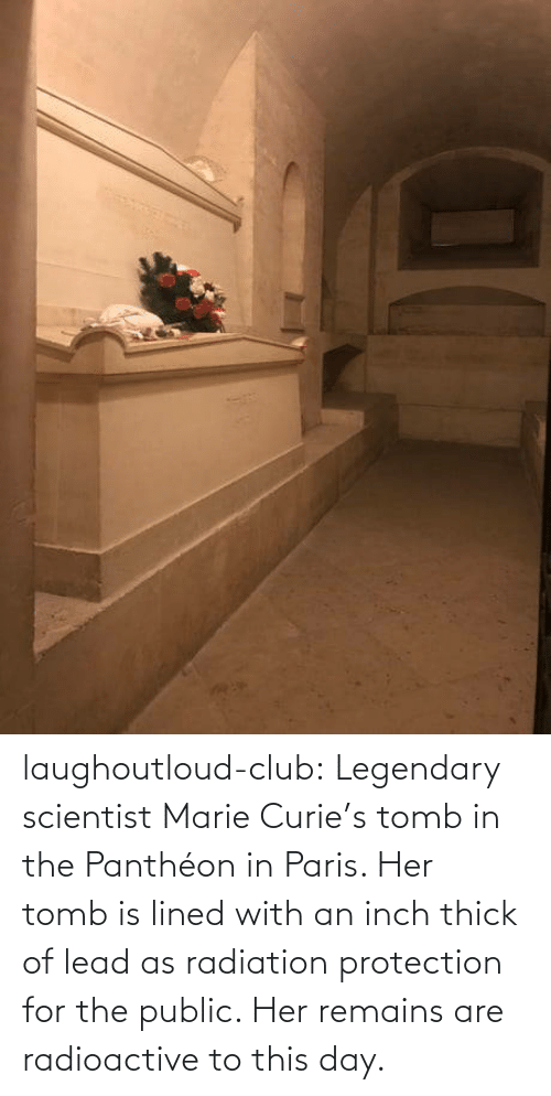 legendary: laughoutloud-club:  Legendary scientist Marie Curie's tomb in the Panthéon in Paris. Her tomb is lined with an inch thick of lead as radiation protection for the public. Her remains are radioactive to this day.
