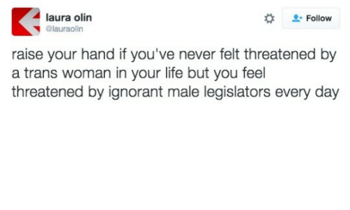 raise your hand if: laura olin  + Follow  @lauraolin  raise your hand if you've never felt threatened by  a trans woman in your life but you feel  threatened by ignorant male legislators every day