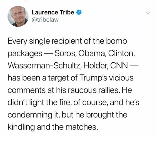 Obama Clinton: Laurence Tribe  @tribelaw  Every single recipient of the bomb  packages-Soros, Obama, Clinton,  Wasserman-Schultz, Holder, CNN  has been a target of Trump's vicious  comments at his raucous rallies. He  didn't light the fire, of course, and he's  condemning it, but he brought the  kindling and the matches.