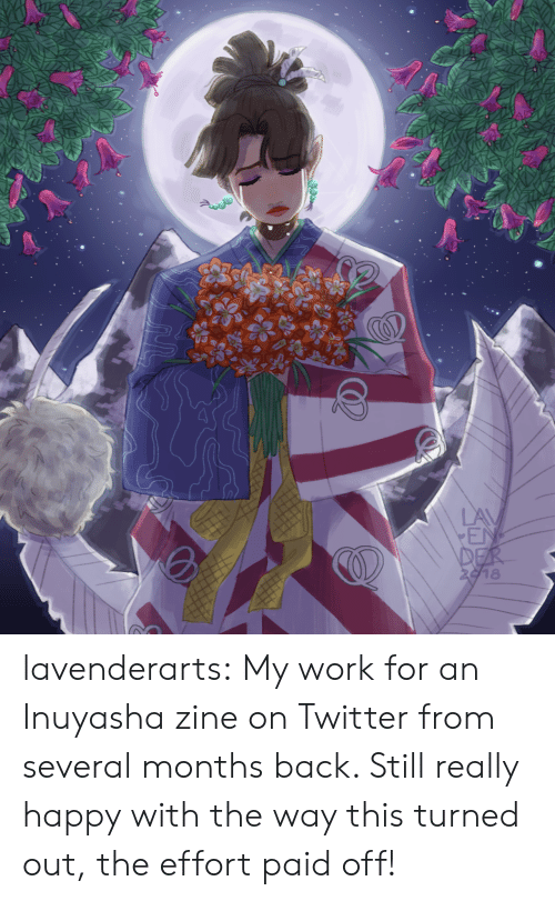Target, Tumblr, and Twitter: LAV  EN  DER  2918 lavenderarts:  My work for an Inuyasha zine on Twitter from several months back. Still really happy with the way this turned out, the effort paid off!