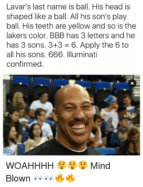 Bbb, DeMarcus Cousins, and Head: Lavar's last name is ball. His head is  shaped like a ball. All his son's play  ball. His teeth are yellow and so is the  lakers color. BBB has 3 letters and he  has 3 sons. 3+3 = 6, Apply the 6 to  all his sons. 666. Illuminati  confirmed. WOAHHHH 😲😲😲 Mind Blown 👀👀🔥🔥