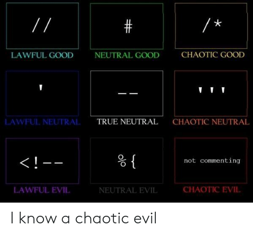 True, Good, and Evil: LAWFUL GOOD  NEUTRAL GOOD  CHAOTIC GOOD  LAWFUL NEUTRAL  TRUE NEUTRAL  CHAOTIC NEUTRAL  not commenting  LAWFUL EVIL  NEUTRAL EVIL  CHAOTIC EVIL I know a chaotic evil