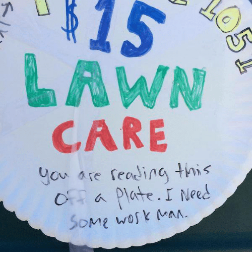Lawn Care: LAWN  CARE  are reading this  Uou a Dlate. I Need  Some work MAN.