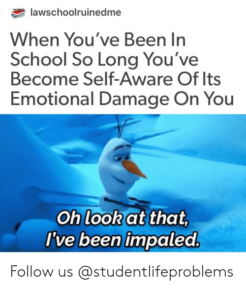 School, Tumblr, and Http: lawschoolruinedme  When You've Been In  School So Long You've  Become Self-Aware Of lts  Emotional Damage On You  Oh look at that  I've been impaled Follow us @studentlifeproblems​