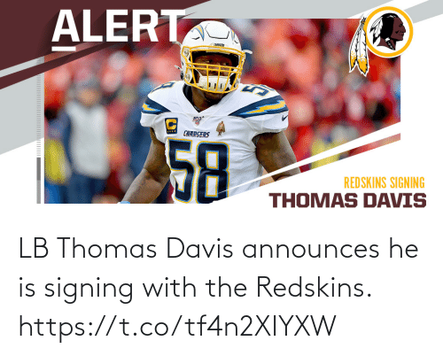 thomas: LB Thomas Davis announces he is signing with the Redskins. https://t.co/tf4n2XIYXW