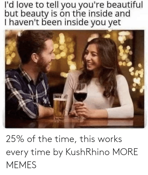 Of The Time: l'd love to tell you you're beautiful  but beauty is on the inside and  I haven't been inside you yet 25% of the time, this works every time by KushRhino MORE MEMES