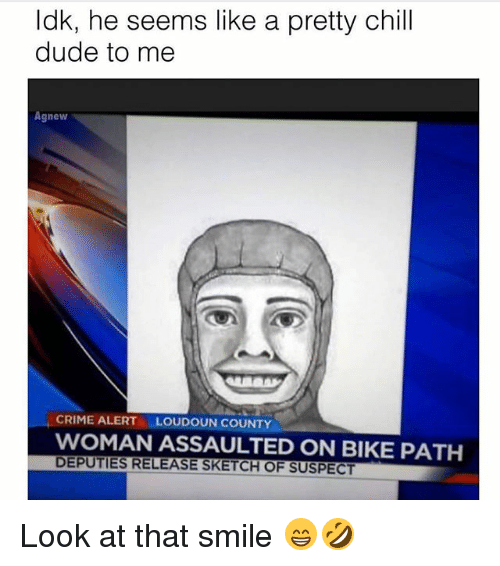 Chill, Crime, and Dude: ldk, he seems like a pretty chill  dude to me  Agnew  CRIME ALERT  LOUDOUN COUNTY  WOMAN ASSAULTED ON BIKE PATH  DEPUTIES RELEASE SKETCH OF SUSPECT Look at that smile 😁🤣