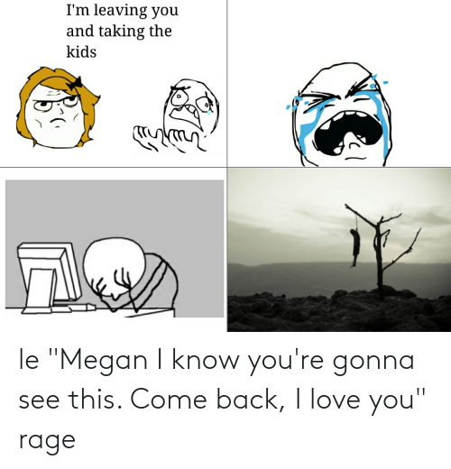"""Megan: le """"Megan I know you're gonna see this. Come back, I love you"""" rage"""