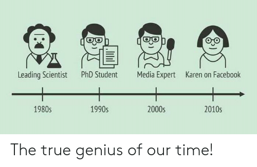 Phd Student: Leading Scientist  PhD Student  Media Expert  Karen on Facebook  1980s  1990s  2000s  2010s The true genius of our time!