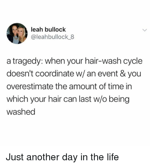Life, Memes, and Hair: leah bullock  @leahbullock 8  a tragedy: when your hair-wash cycle  doesn't coordinate w/an event & you  overestimate the amount of time in  which your hair can last w/o being  washed Just another day in the life