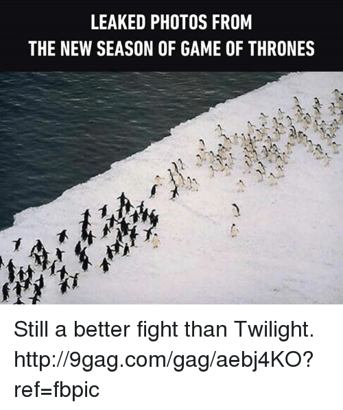 9gag, Dank, and Game of Thrones: LEAKED PHOTOS FROM  THE NEW SEASON OF GAME OF THRONES Still a better fight than Twilight. http://9gag.com/gag/aebj4KO?ref=fbpic