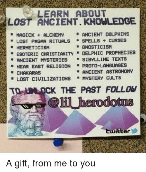 Reddit, Lost, and Dolphins: LEARN ABOUT  LOST ANCIENT. KNOWLEDGE  MAGICK ALCHEM ANCIENT DOLPHINS  LOST PAGAN RITUALS * SPELLS + CURSES  * HERMETICİSM  GNOSTICISM  ESOTERIC CHRISTIANITY * DELPHIC PROPHECIES  * ANCIENT MYSTERIES * SIBYLL INE TEXTS  *NEAR EAST RELIGION PROTO-LANGUAGES  CHAKARAS  ANCIENT ASTRONOMY  LOST CIUILIZATIONS MYSTERY CULTS  CK THE PAST FOLLOW  Eter