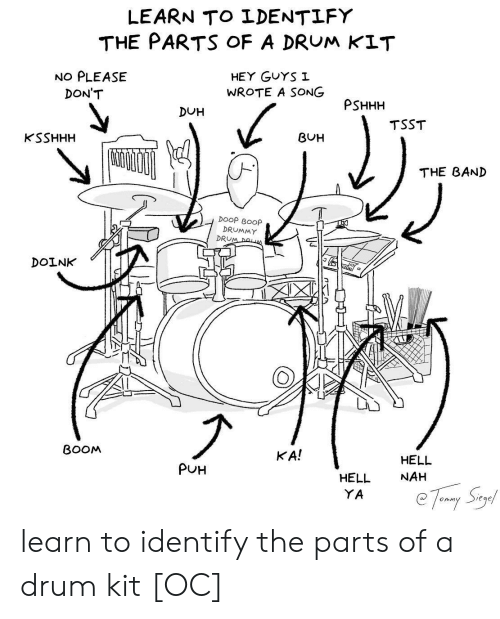 Hell, Band, and A Song: LEARN TO LDENTLFY  THE PARTS oF A DRUM KIT  NO PLEASE  HEY GuYS I  WROTE A SONG  DON'T  PSHHH  DUH  TSST  KSSHHH  BUH  THE BAND  DOOP BOOp  DRUMMY  DRU  DOINK  BOOM  KA!  HELL  NAH  PUH  HELL  YA learn to identify the parts of a drum kit [OC]