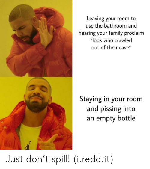 "empty bottle: Leaving your room to  use the bathroom and  hearing your family proclaim  ""look who crawled  out of their cave""  Staying in your room  and pissing into  an empty bottle Just don't spill! (i.redd.it)"