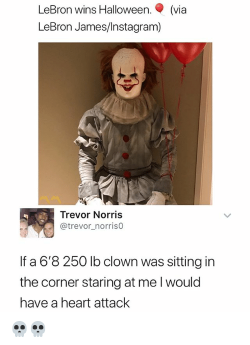 Halloween, Instagram, and LeBron James: LeBron wins Halloween. (via  LeBron James/Instagram)  Trevor Norris  @trevor_norriso  If a 6'8 250 lb clown was sitting in  the corner staring at me l would  have a heart attack 💀💀
