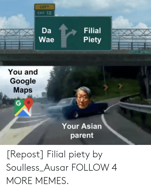 wae: LEFT  CAT 12  Da  Filial  Piety  Wae  You and  Google  Maps  G  Your Asian  parent [Repost] Filial piety by Soulless_Ausar FOLLOW 4 MORE MEMES.