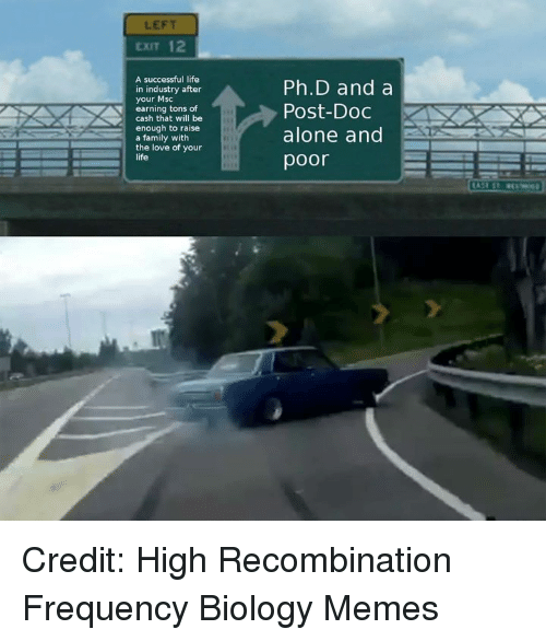 Being Alone, Family, and Life: LEFT  EXIT 12  A successful life  in industry after  your Msc  earning tons of  cash that will be  enough to raise  a family with  the love of your  life  Ph.D and a  Post-Doc  alone and  poor Credit: High Recombination Frequency Biology Memes