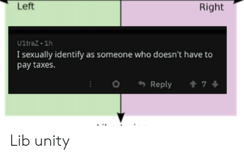 Taxes, Unity, and Dank Memes: Left  Right  U1traZ 1h  I sexually identify as someone who doesn't have to  pay taxes.  Reply  7 Lib unity