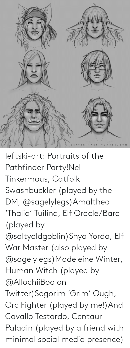 Elf, Party, and Social Media: LEFTS KI - A RT.  TUM B L R . сом  >ф leftski-art:  Portraits of the Pathfinder Party!Nel Tinkermous, Catfolk Swashbuckler (played by the DM, @sagelylegs)Amalthea 'Thalia' Tuilind, Elf Oracle/Bard (played by @saltyoldgoblin)Shyo Yorda, Elf War Master (also played by @sagelylegs)Madeleine Winter, Human Witch (played by @AllochiiBoo on Twitter)Sogorim 'Grim' Ough, Orc Fighter (played by me!)And Cavallo Testardo, Centaur Paladin (played by a friend with minimal social media presence)