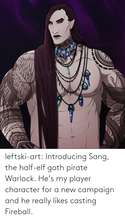 Elf, Tumblr, and Sang: LEFTSKI-ART.TUMBLR.COM leftski-art:  Introducing Sang, the half-elf goth pirate Warlock. He's my player character for a new campaign and he really likes casting Fireball.