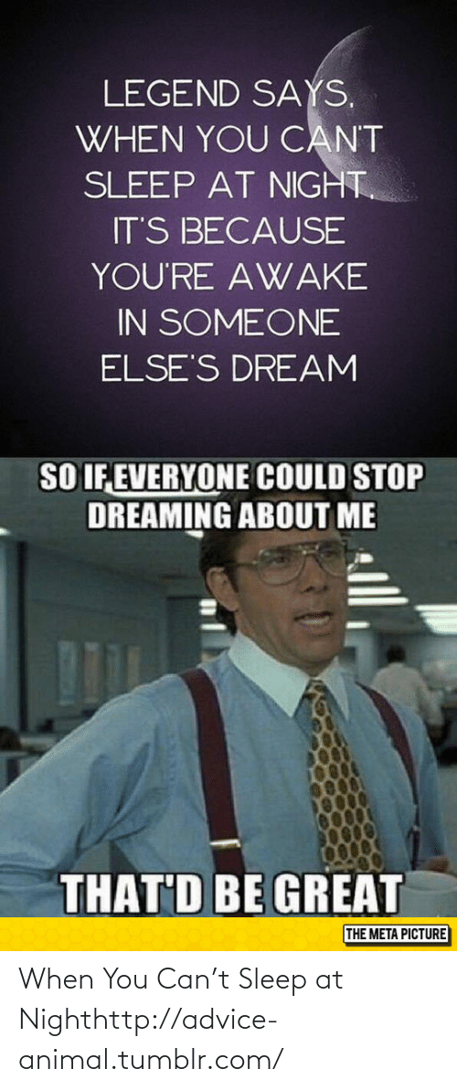 Advice, Tumblr, and Animal: LEGEND SAYS.  WHEN YOU CANT  SLEEP AT NIGHT.  IT'S BECAUSE  YOU'RE AWAKE  IN SOMEONE  ELSE'S DREAM  SO IF EVERYONE COULD STOP  DREAMING ABOUT ME  THAT'D BE GREAT  THE META PICTURE When You Can't Sleep at Nighthttp://advice-animal.tumblr.com/