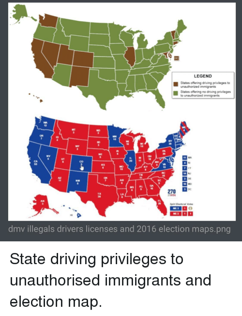 LEGEND States Offering Driving Prileges to Unauthonized Immigrants on