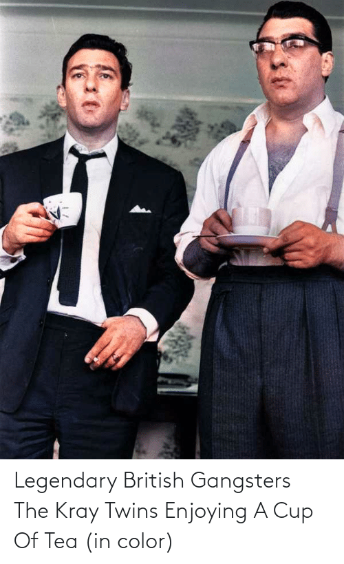 Twins: Legendary British Gangsters The Kray Twins Enjoying A Cup Of Tea (in color)