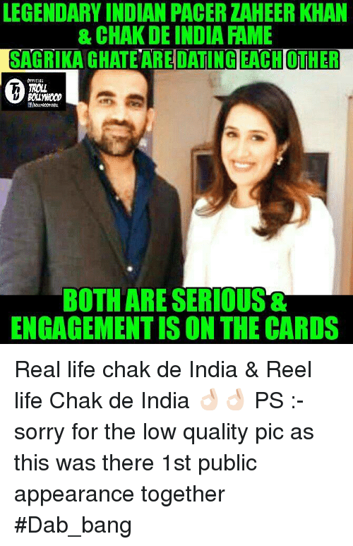 Chak De India: LEGENDARY INDIAN PACER ZAHEERKHAN  & CHAKDE INDIA FAME  SAGRIKA DATING EACH OTHER  OFFICIAL  TROT  BOTH ARE SERIOUS  ENGAGEMENTISON THE CARDS Real life chak de India & Reel life Chak de India 👌🏻👌🏻  PS :- sorry for the low quality pic as this was there 1st public appearance together   #Dab_bang