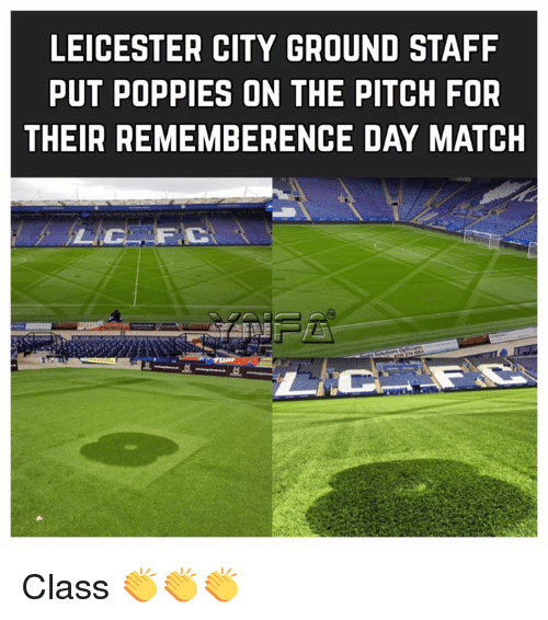 Poppies: LEICESTER CITY GROUND STAFF  PUT POPPIES ON THE PITCH FOR  THEIR REMEMBERENCE DAY MATCH Class 👏👏👏