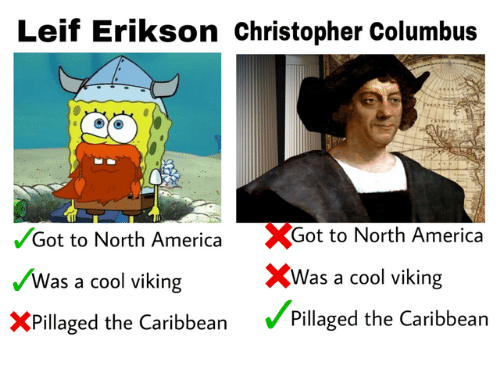 Christopher Columbus: Leif Erikson christopher Columbus  %Got to North America  XWas a cool viking  Pillaged the Caribbean  /Got to North America  Was a cool viking  XPillaged the Caribbean