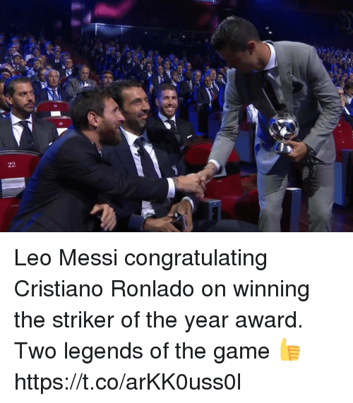 congratulating: Leo Messi congratulating Cristiano Ronlado on winning the striker of the year award.   Two legends of the game 👍 https://t.co/arKK0uss0l