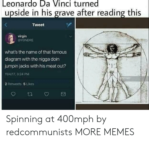 Dank, Leonardo Da Vinci, and Memes: Leonardo Da Vinci turned  upside in his grave after reading this  Tweet  virgin  @YONDRE  what's the name of that famous  diagram with the nigga doin  jumpin jacks with his meat out?  11/4/17,3:24 PM  2 Retweets 5 Likes Spinning at 400mph by redcommunists MORE MEMES