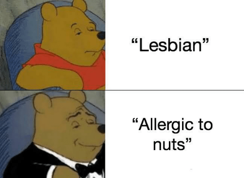 "Allergic: ""Lesbian""  ""Allergic to  nuts"""