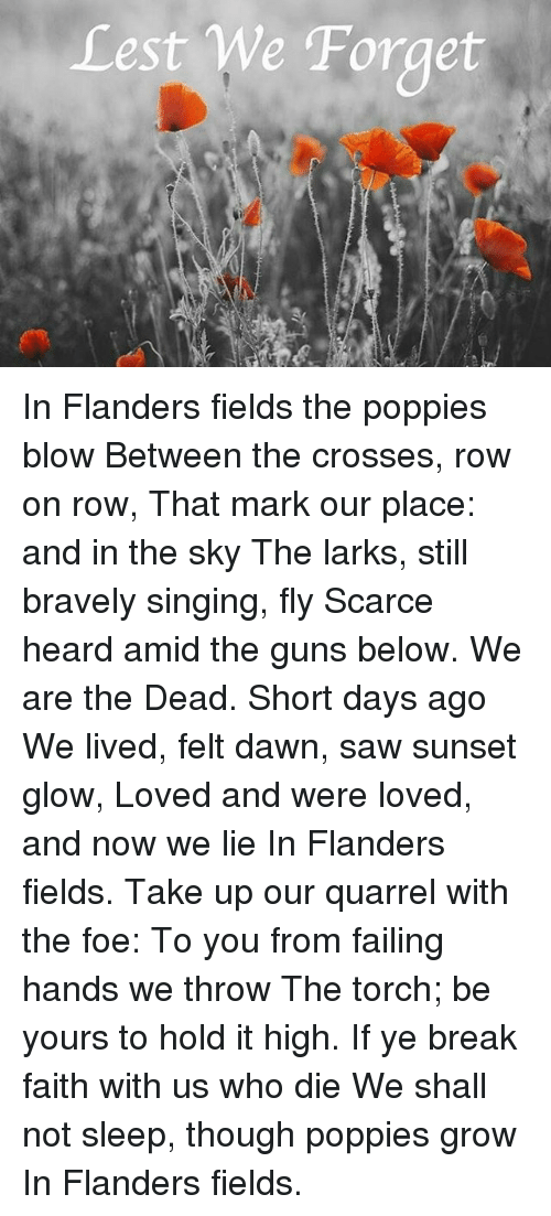Poppies: Lest We Forget In Flanders fields the poppies blow Between the crosses, row on row, That mark our place: and in the sky The larks, still bravely singing, fly Scarce heard amid the guns below. We are the Dead. Short days ago We lived, felt dawn, saw sunset glow, Loved and were loved, and now we lie In Flanders fields. Take up our quarrel with the foe: To you from failing hands we throw The torch; be yours to hold it high. If ye break faith with us who die We shall not sleep, though poppies grow In Flanders fields.