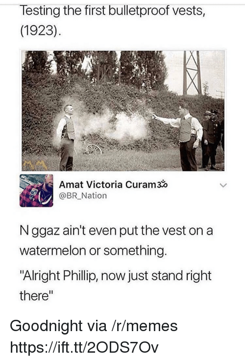 "Memes, Alright, and Watermelon: lesting the first bulletproof vests,  (1923)  Amat Victoria Curam3o  @BR Nation  N ggaz ain't even put the vest on a  watermelon or something  ""Alright Phillip, now just stand right  there"" Goodnight via /r/memes https://ift.tt/2ODS7Ov"
