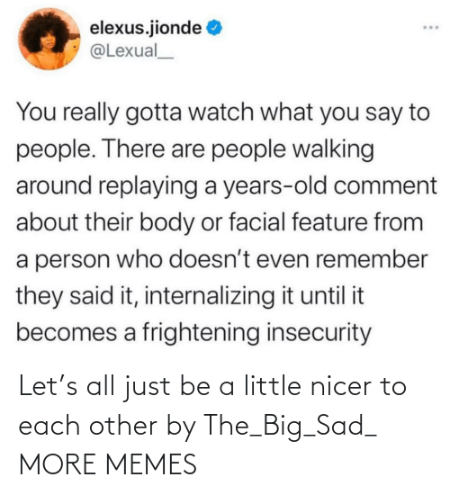 each other: Let's all just be a little nicer to each other by The_Big_Sad_ MORE MEMES