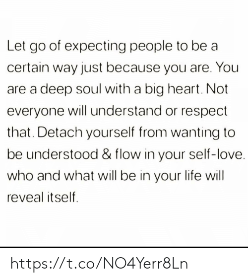 Life, Love, and Memes: Let go of expecting people to be a  certain way just because you are. You  deep soul with a big heart. Not  everyone will understand or respect  that. Detach yourself from wanting to  be understood & flow in your self-love.  who and what will be in your life will  reveal itself https://t.co/NO4Yerr8Ln