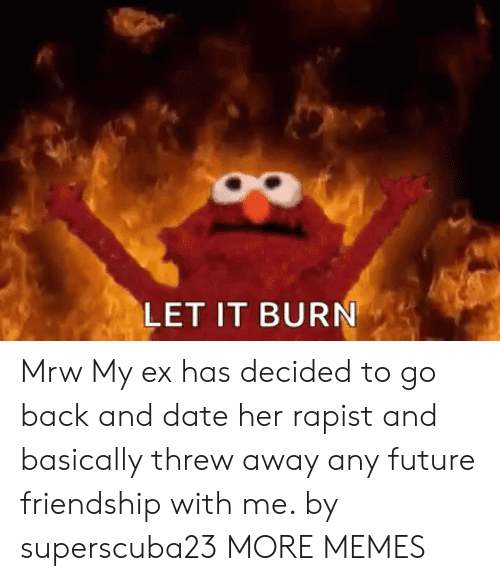 Dank, Future, and Memes: LET IT BURN Mrw My ex has decided to go back and date her rapist and basically threw away any future friendship with me. by superscuba23 MORE MEMES
