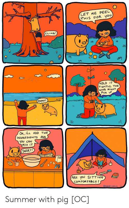 snort: LET ME PEEL  THIS FOR you  CLIMB!  HOLD IT  TIGHTLY, THE  WIND MIGHT  PIck UP  SNORT!  Ok, ILL ADD THE  INGREDIENTS AND  You CAN  MIX IT  SNORT  RECIPE  FloOR  (ARE yoU SITTING  COMFORTABLY ?  OGREB COMICS Summer with pig [OC]
