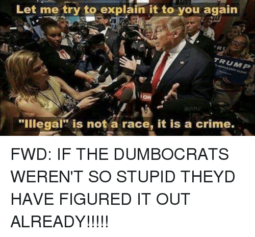 """Criming: Let me try to explain it to you again  TRUMP  OD  """"illegal"""" is not a race, it is a crime. FWD: IF THE DUMBOCRATS WEREN'T SO STUPID THEYD HAVE FIGURED IT OUT ALREADY!!!!!"""