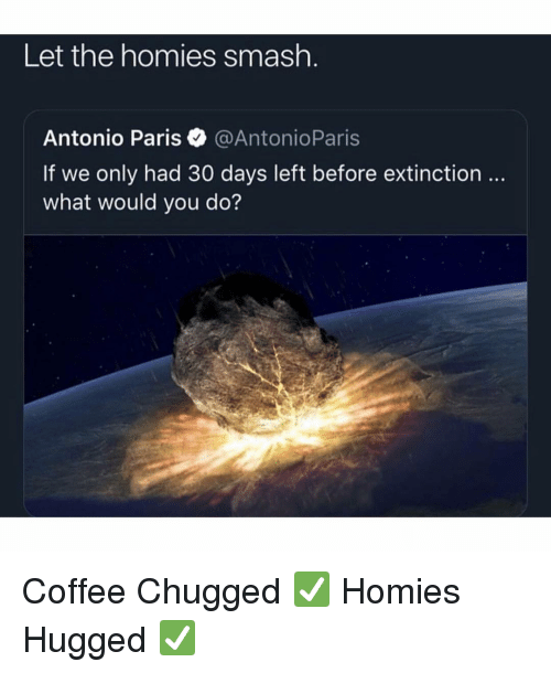 Memes, Smashing, and Coffee: Let the homies smash.  Antonio Paris@AntonioParis  If we only had 30 days left before extinction  what would you do? Coffee Chugged ✅ Homies Hugged ✅