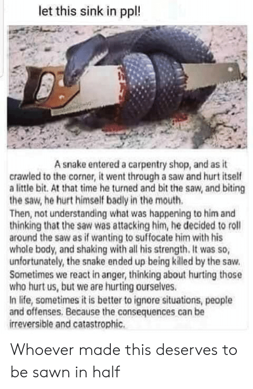 Life, Saw, and Snake: let this sink in ppl!  A snake entered a carpentry shop, and as it  crawled to the corner, it went through a saw and hurt itself  a little bit. At that time he turned and bit the saw, and biting  the saw, he hurt himself badly in the mouth.  Then, not understanding what was happening to him and  thinking that the saw was attacking him, he decided to roll  around the saw as if wanting to suffocate him with his  whole body, and shaking with all his strength. It was so,  unfortunately, the snake ended up being killed by the saw.  Sometimes we react in anger, thinking about hurting those  who hurt us, but we are hurting ourselves.  In life, sometimes it is better to ignore situations, people  and offenses, Because the consequences can be  irreversible and catastrophic. Whoever made this deserves to be sawn in half
