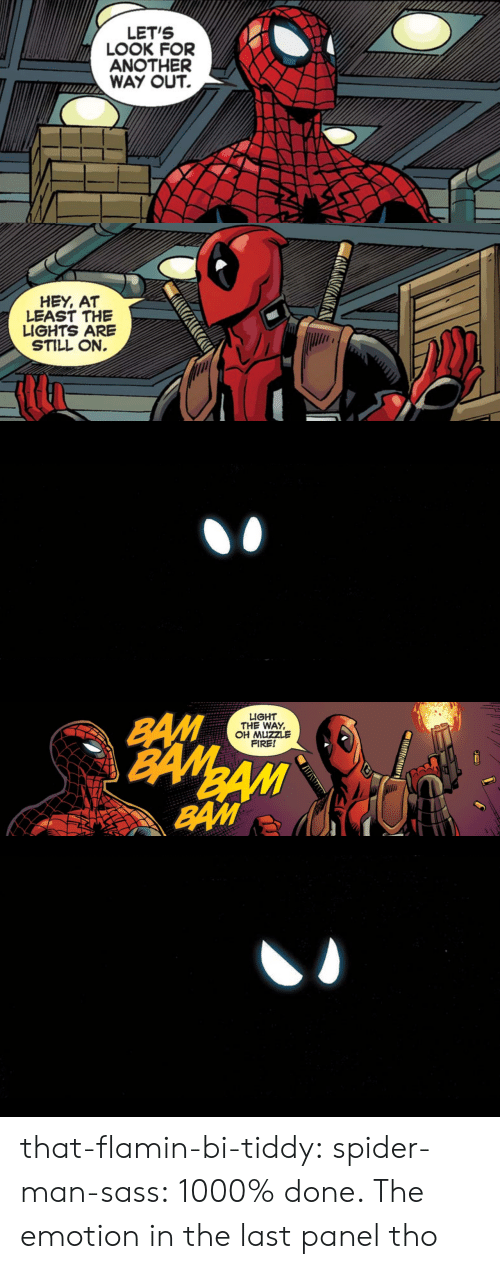 Fire, Spider, and SpiderMan: LET'S  ANOTHER  WAY OUT.   HEY, AT  LEAST THE  LIGHTS ARE  STILL ON.   LIGHT  THE WAY,  OH MUZZLE  FIRE! that-flamin-bi-tiddy: spider-man-sass: 1000% done.  The emotion in the last panel tho