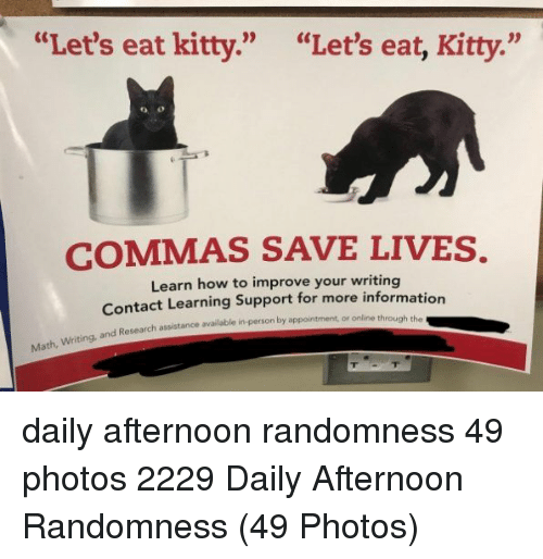 "Commas: ""Let's eat kitty.""  ""Let's eat, Kitty.""  COMMAS SAVE LIVES.  Learn how to improve your writing  Contact Learning Support for more informatio  Research assistance available in-person by appointment, or online through the daily afternoon randomness 49 photos 2229 Daily Afternoon Randomness (49 Photos)"