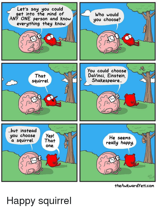 Shakespeare, Einstein, and Happy: Let's say you could  get into the mind of  ANY ONE person and know  everything they know.  Who would  you choose?  That  squirrel  You could choose  DaVinci, Einstein,  Shakespeare..  fii  in  ..but instead  you choose Yefp!  a squirrel.That  He seems  really happy.  one.  seLü  theAwkwardYeti.com Happy squirrel