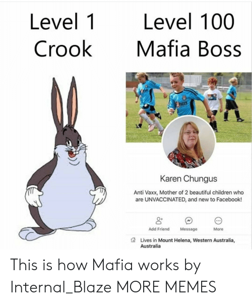 Chungus: Level 1  Crook  Level 100  Mafia Boss  NDER  Karen Chungus  Anti Vaxx, Mother of 2 beautiful children who  are UNVACCINATED, and new to Facebook!  0+  Add Friend  Message  More  Lives in Mount Helena, Western Australia,  Australia This is how Mafia works by Internal_Blaze MORE MEMES