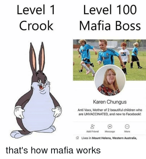 Anaconda, Beautiful, and Children: Level 1 Level 100  CrookMafia Boss  Karen Chungus  Anti Vaxx, Mother of 2 beautiful children who  are UNVACCINATED, and new to Facebook!  Add Friend Message  More  Lives in Mount Helena, Western Australia that's how mafia works