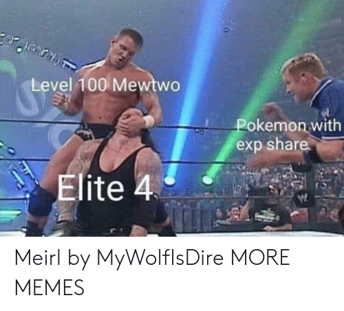 Dank, Memes, and Mewtwo: Level 100 Mewtwo  Pokemon with  exp share  Elite 4 Meirl by MyWolfIsDire MORE MEMES