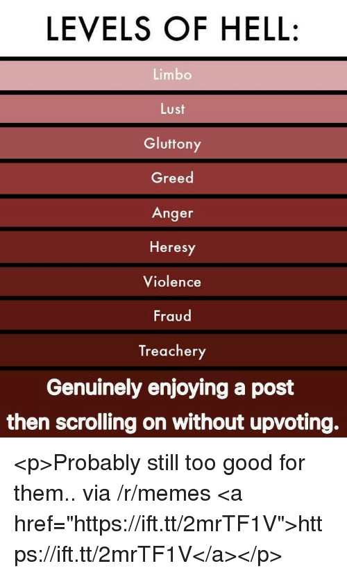 """Memes, Good, and Greed: LEVELS OF HELL:  Limbo  Lust  Gluttony  Greed  Anger  Heresy  Violence  Fraud  Treachery  Genuinely enjoying a post  then scrolling on without upvoting. <p>Probably still too good for them.. via /r/memes <a href=""""https://ift.tt/2mrTF1V"""">https://ift.tt/2mrTF1V</a></p>"""